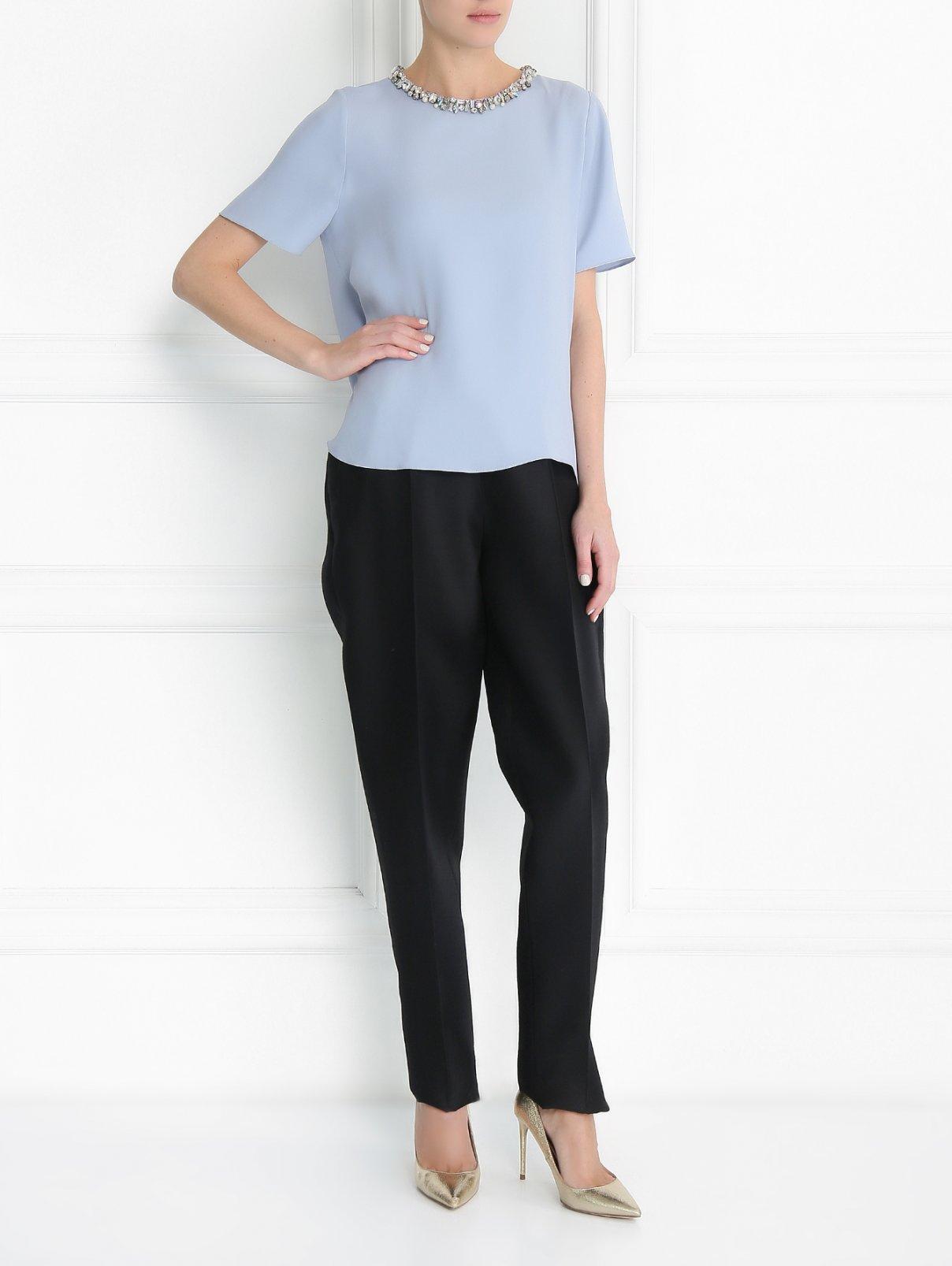 Блуза из шелка с декором из камней Dice Kayek  –  Модель Общий вид