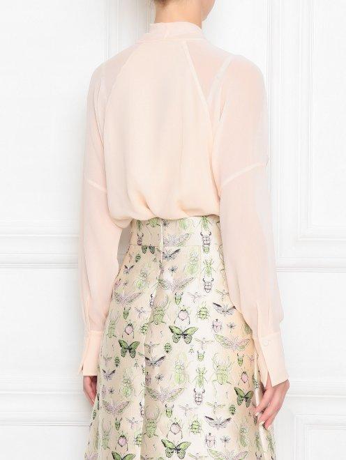 Блуза из шелка с v-образной горловиной - МодельВерхНиз1