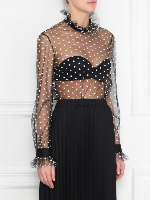 Прозрачная блуза с вышивкой - МодельВерхНиз