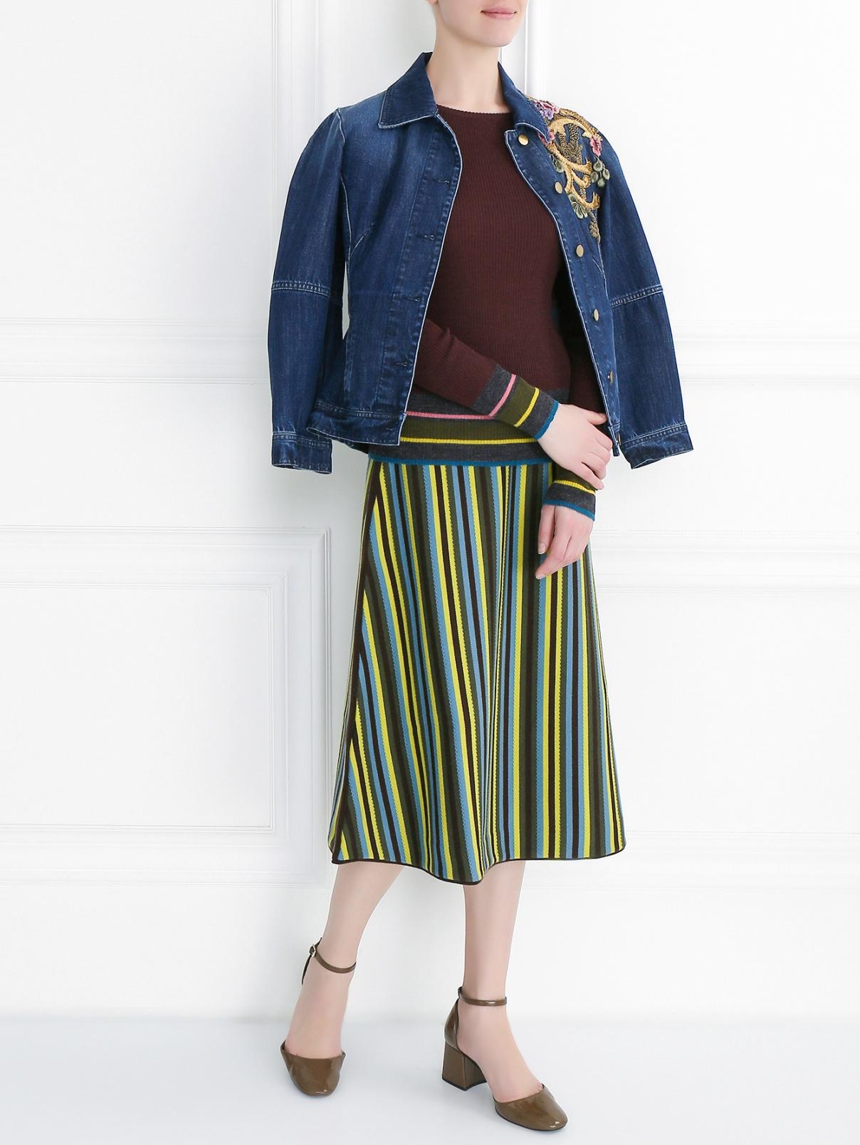 Облегающий джемпер из шерсти I'M Isola Marras  –  Модель Общий вид  – Цвет:  Коричневый