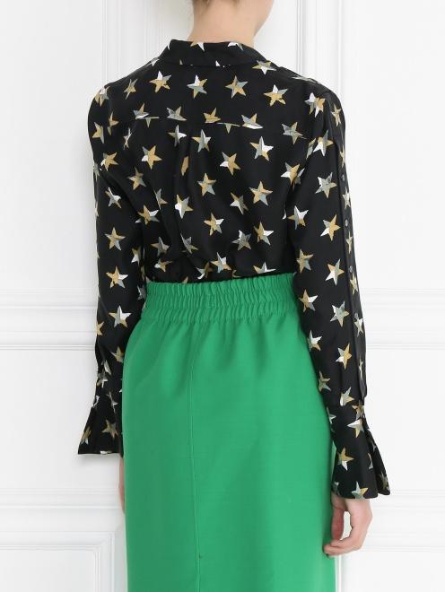 Блуза из шелка с принтом и пуговицами по бокам - МодельВерхНиз1