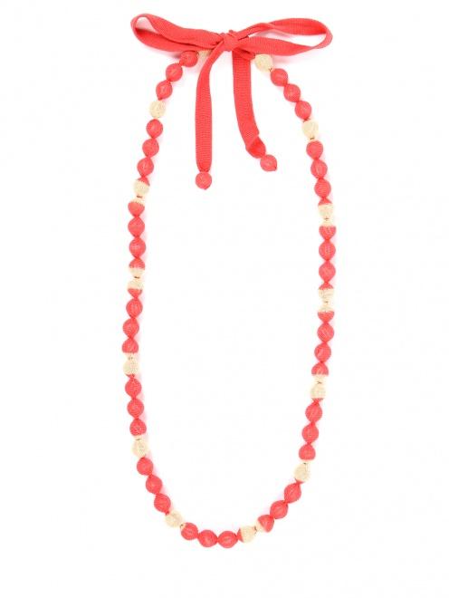 Ожерелье из бусин обтянутых трикотажем - Общий вид