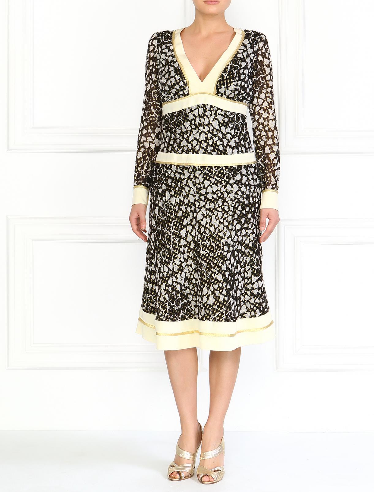 Шелковое платье с V-образным вырезом Moschino  –  Модель Общий вид