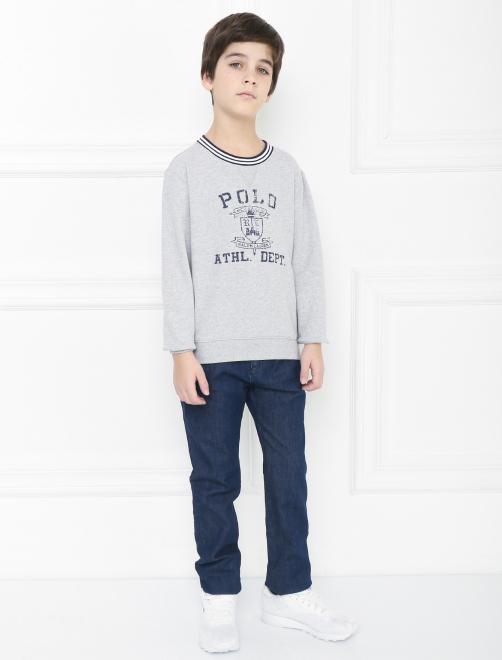 Хлопковый свитшот с принтом - Общий вид