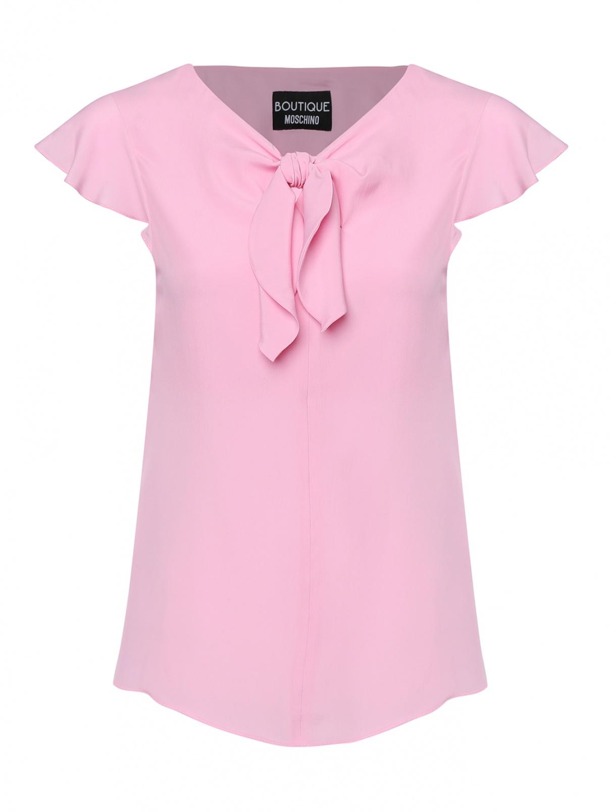 Блуза с короткими рукавами Moschino Boutique  –  Общий вид  – Цвет:  Розовый
