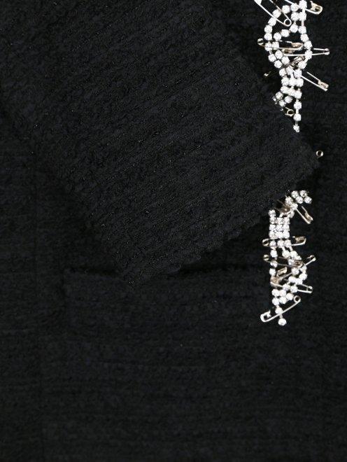 Пальто из шерсти с аппликацией из кристаллов - Деталь