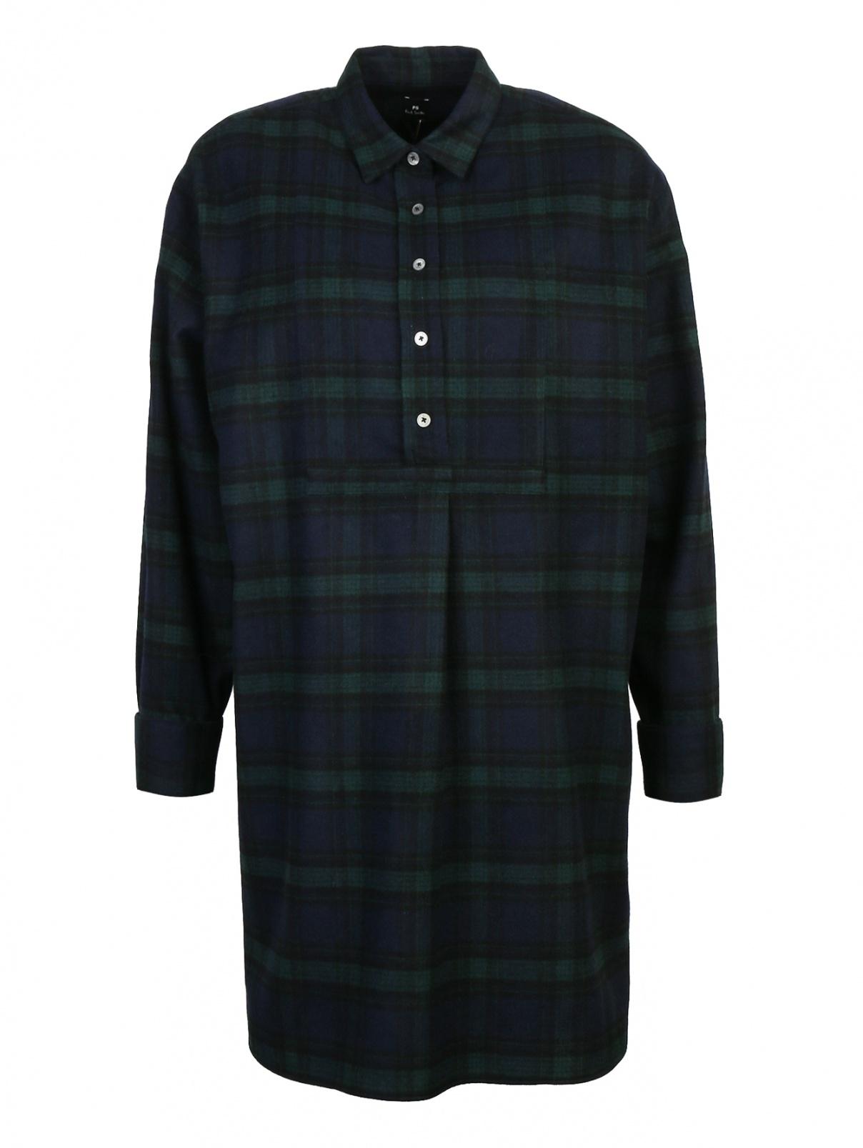Платье-рубашка из шерсти в клетку Paul Smith  –  Общий вид