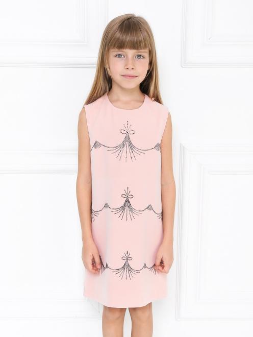 Платье-трапеция декорированное стразами - МодельВерхНиз