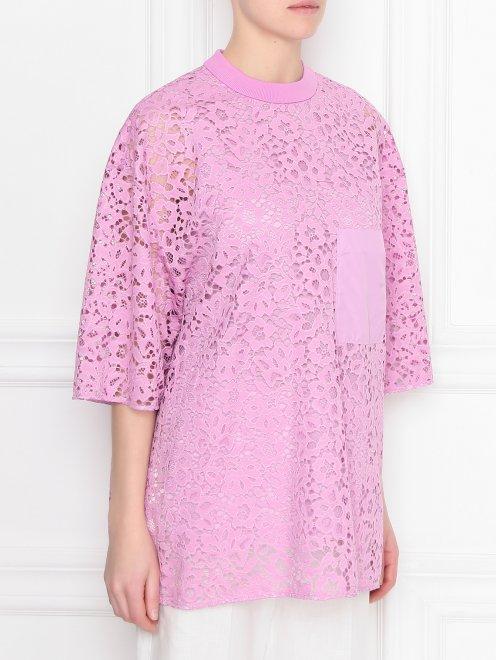 Блуза из кружева с накладным карманом - МодельВерхНиз