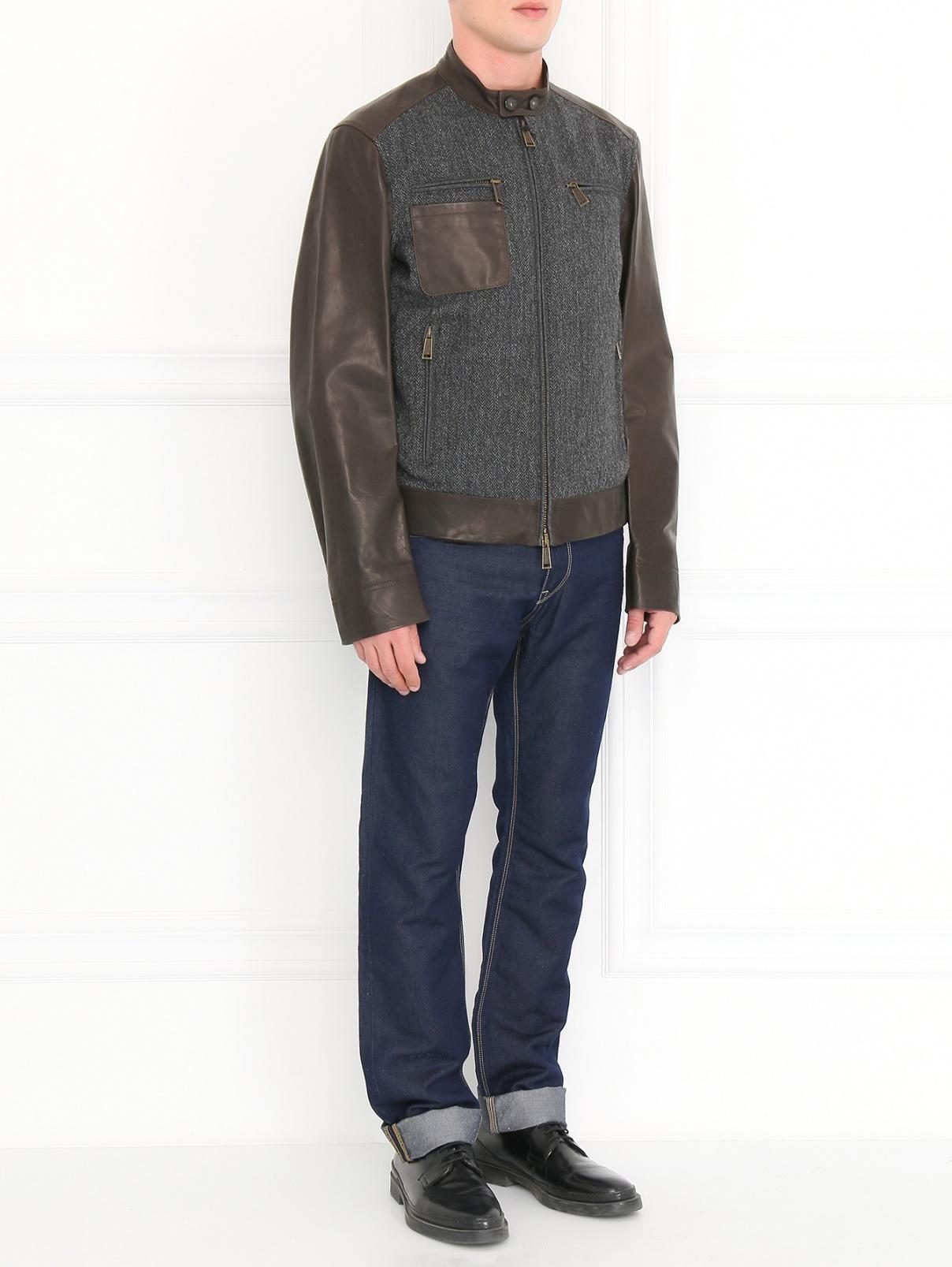 Куртка из шерсти с кожаными вставками Dsquared2  –  Модель Общий вид  – Цвет:  Серый
