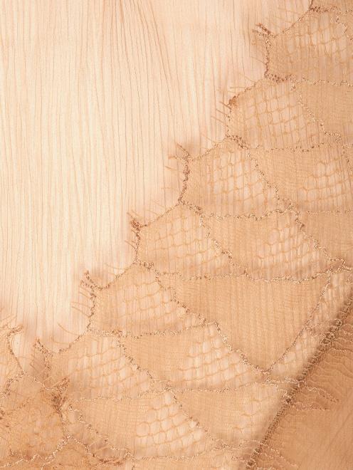 Топ из шелка с декоративной отделкой кружевом - Общий вид
