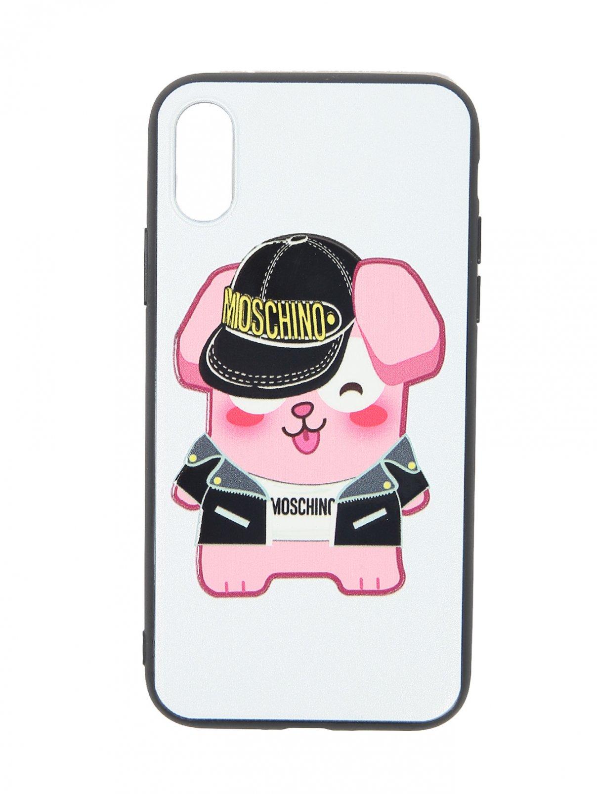 Чехол для IPhone Xs с принтом Moschino  –  Общий вид  – Цвет:  Мультиколор