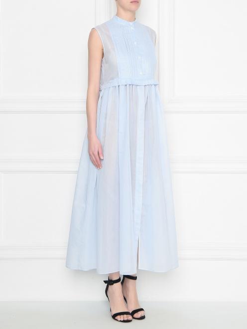 Платье из хлопка и шелка со складками - МодельВерхНиз