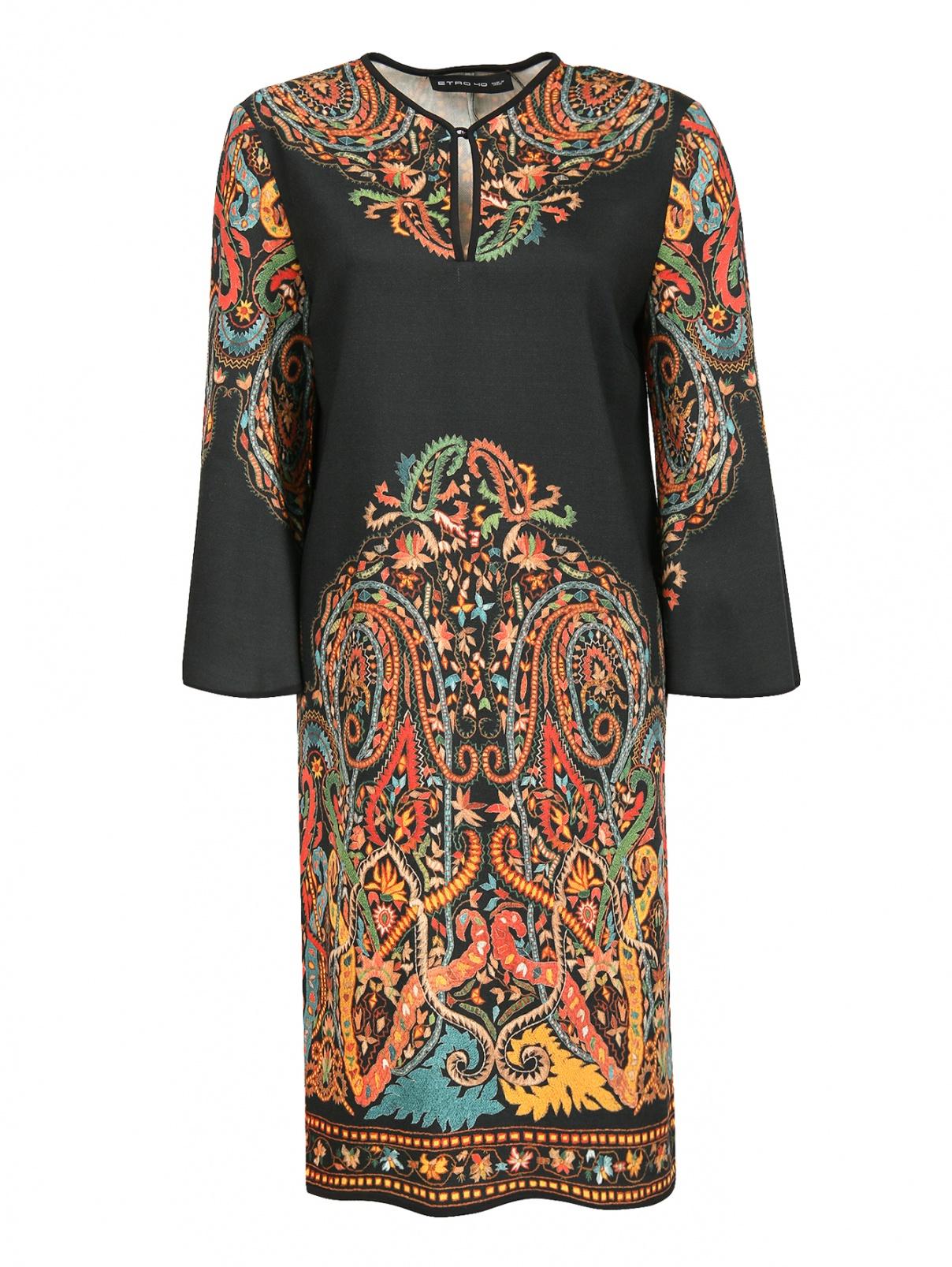 Платье из шерсти прямого кроя с узором Etro  –  Общий вид