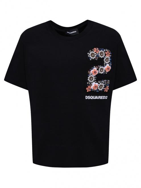 Хлопковая футболка с аппликацией - Общий вид