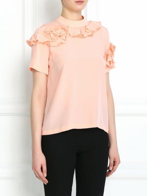 Блуза из шелка с декором - Модель Верх-Низ