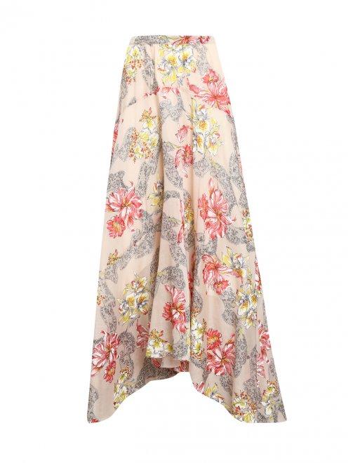Юбка-макси из хлопка и шелка с цветочным узором - Общий вид