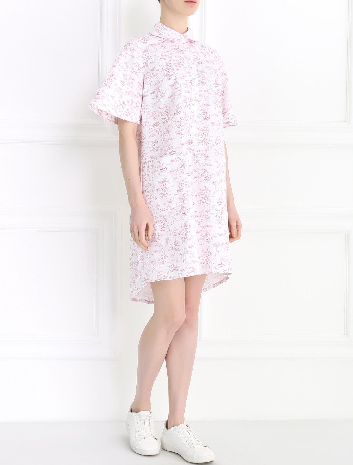 Платье-мини с коротким рукавом Petit Jete  –  Модель Общий вид  – Цвет:  Узор