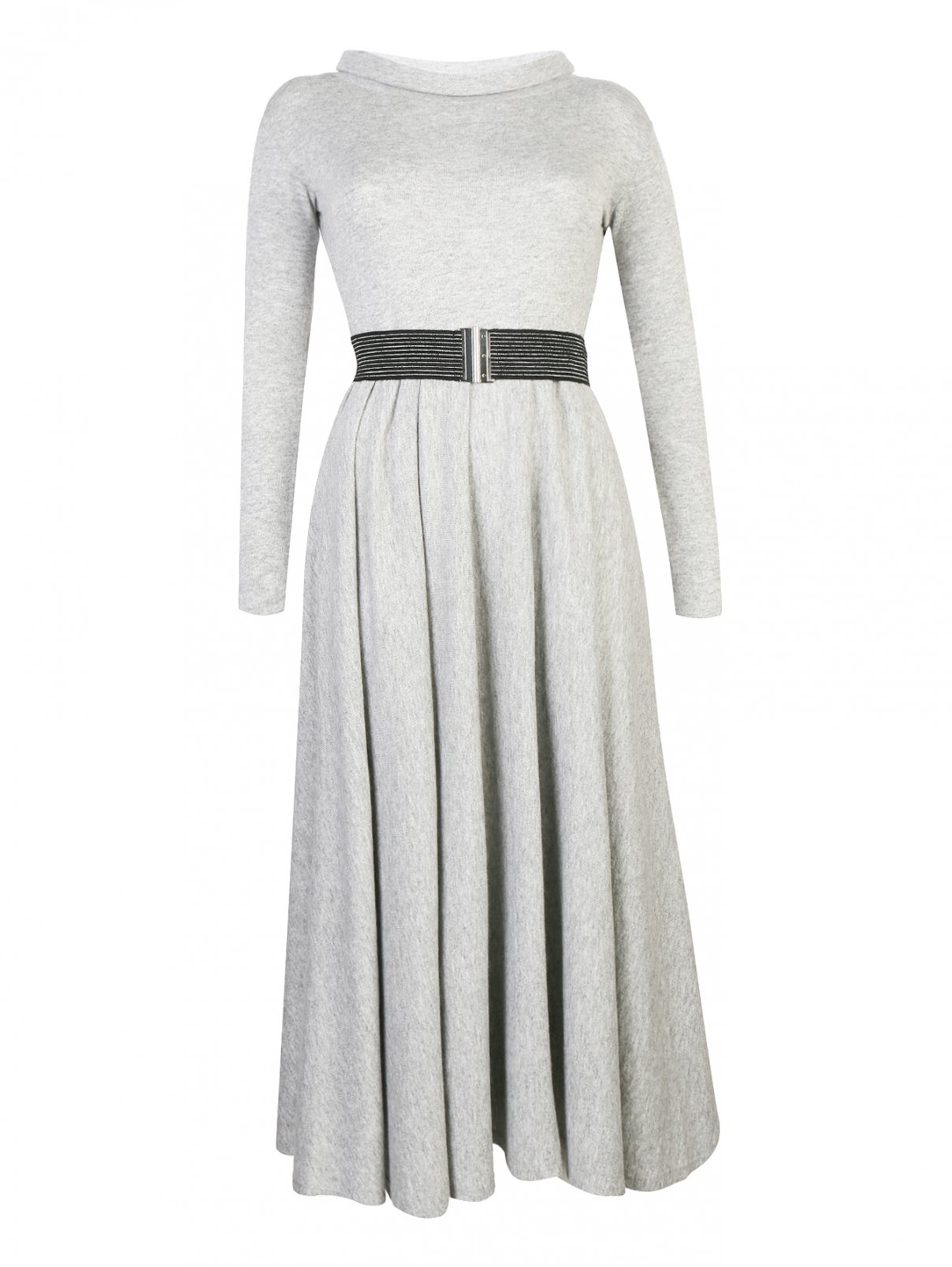 Платье-миди из смешанной шерсти с контрастным поясом Max&Co  –  Общий вид