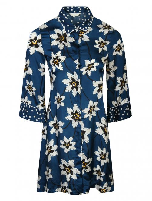 Блуза удлиненная с цветочным узором - Общий вид