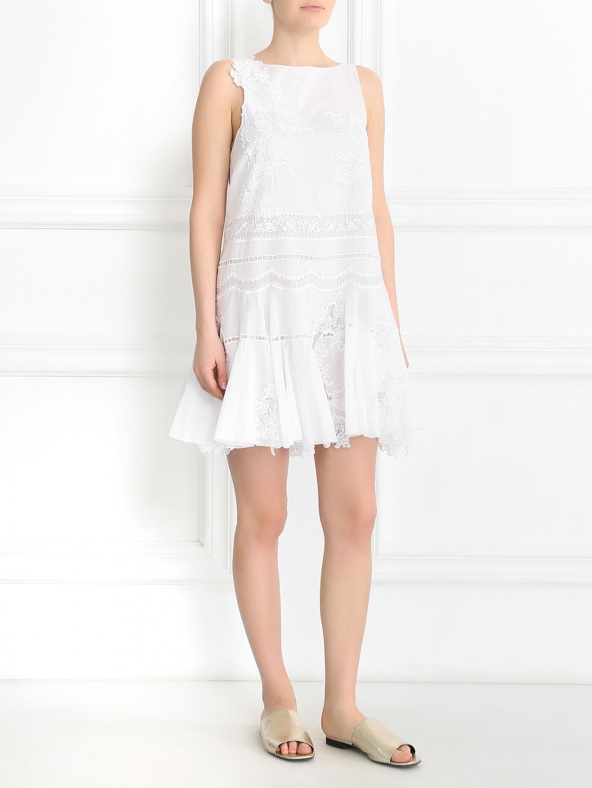 Платье из хлопка с вышивкой Ermanno Scervino  –  Модель Общий вид