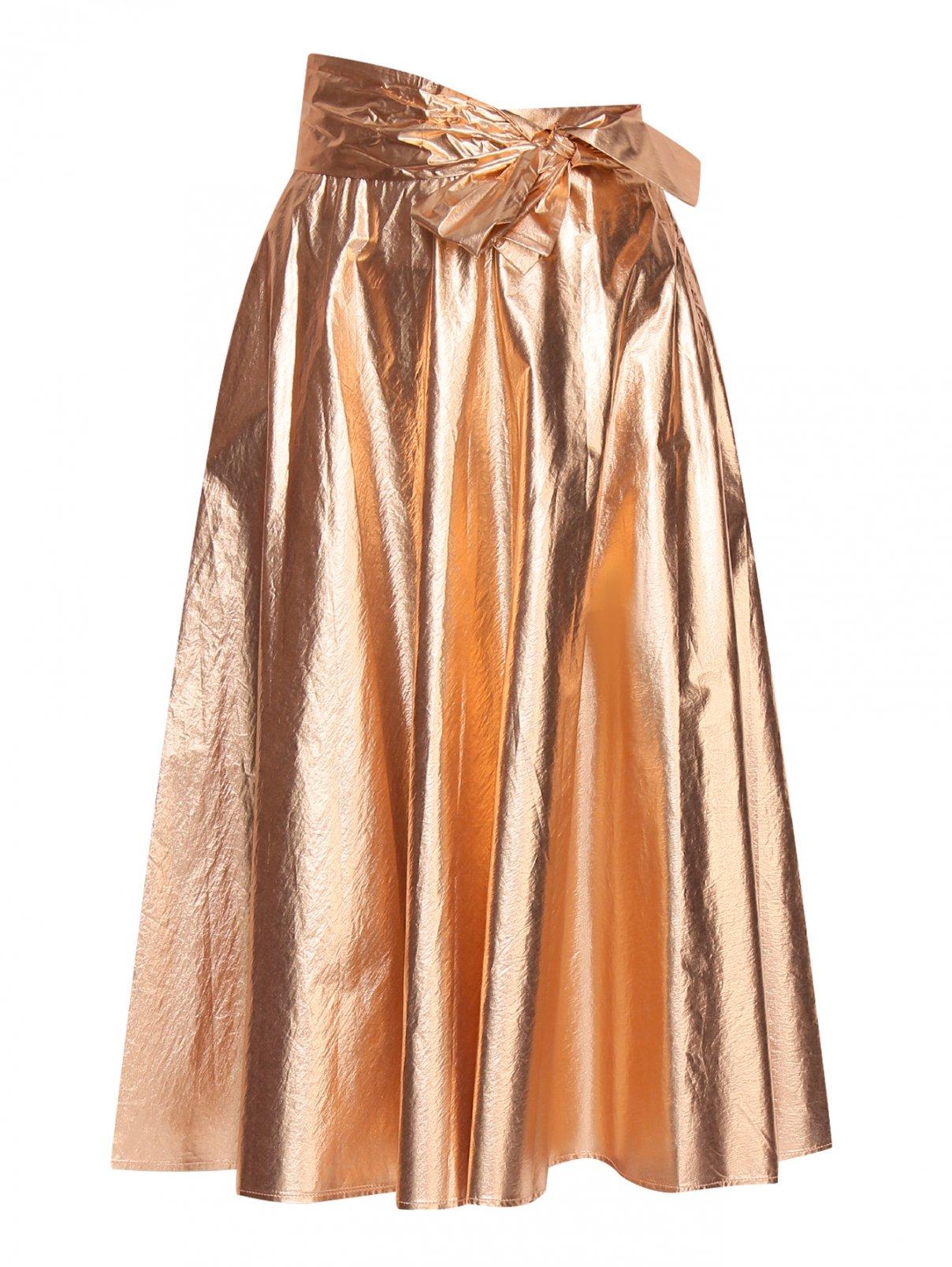 Юбка из хлопка с декоративным бантом Manila Grace  –  Общий вид  – Цвет:  Золотой