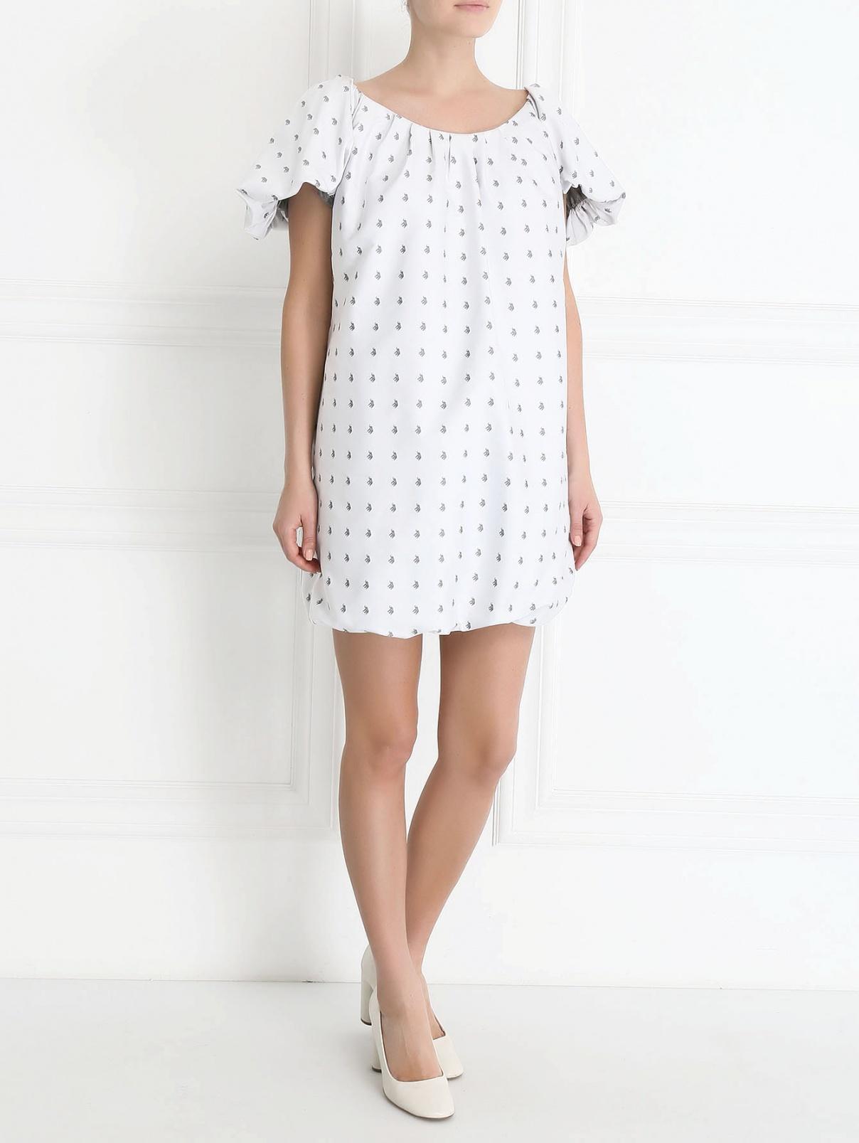 Платье-мини с узором Au Jour Le Jour  –  Модель Общий вид  – Цвет:  Серый
