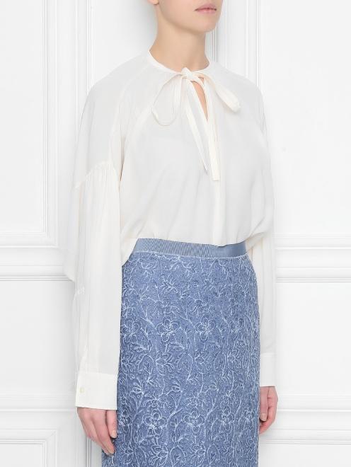 Блуза из шелка свободного кроя - МодельВерхНиз