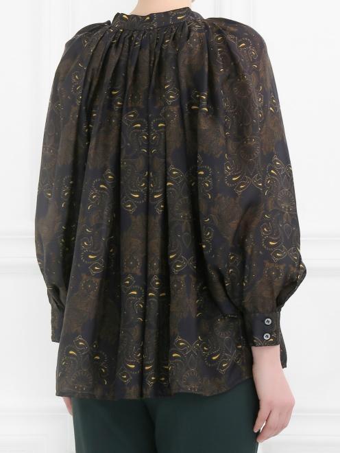 Блуза из шелка свободного кроя с узором - Модель Верх-Низ1