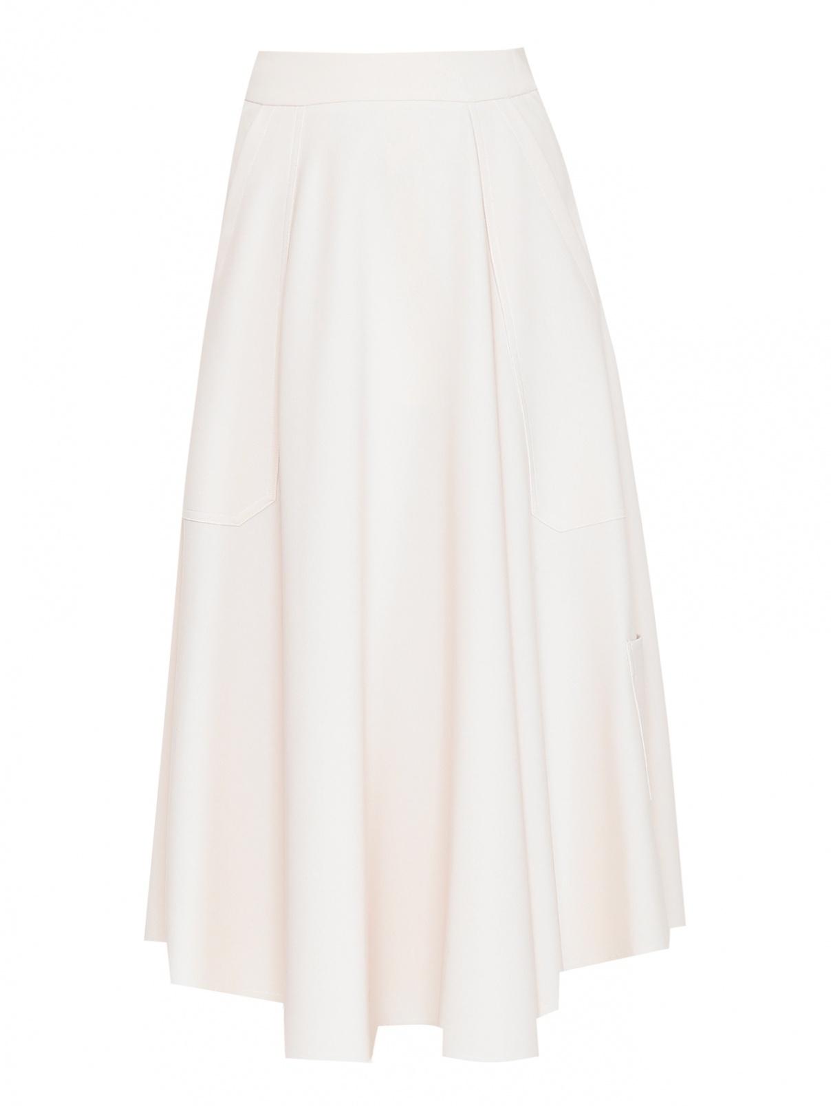 Юбка-миди расклешенного кроя с карманами Alysi  –  Общий вид  – Цвет:  Бежевый