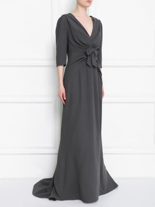 Платье-макси из шелка с драпировкой - Общий вид