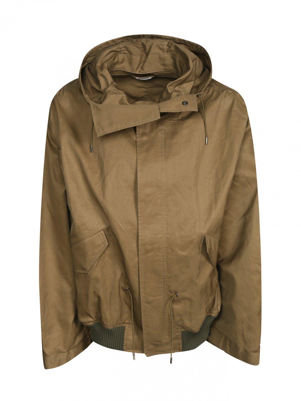 Куртка из хлопка с капюшоном Jil Sander  –  Общий вид  – Цвет:  Зеленый