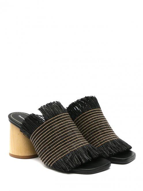 Мули из текстиля на устойчивом каблуке - Общий вид