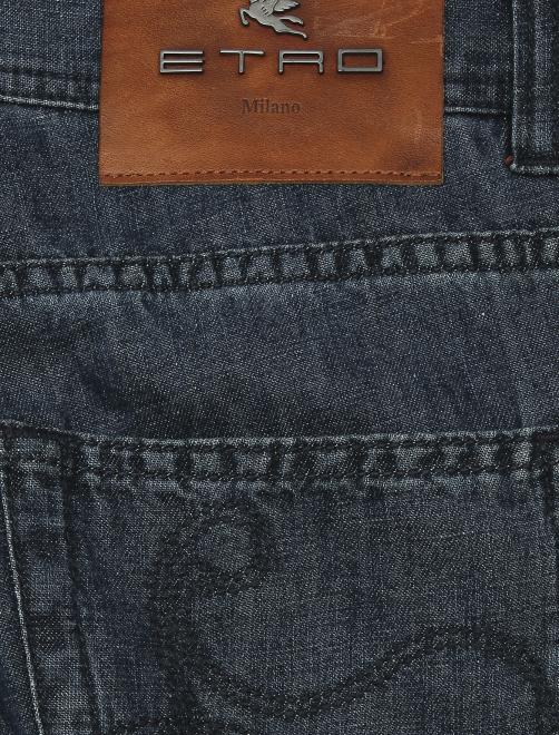 Брюки джинсового кроя из хлопка и льна - Деталь
