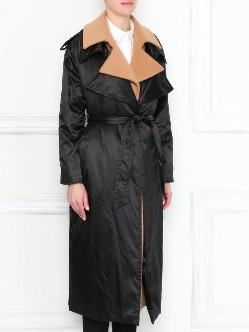 Пальто с контрастной отделкой и поясом - МодельВерхНиз