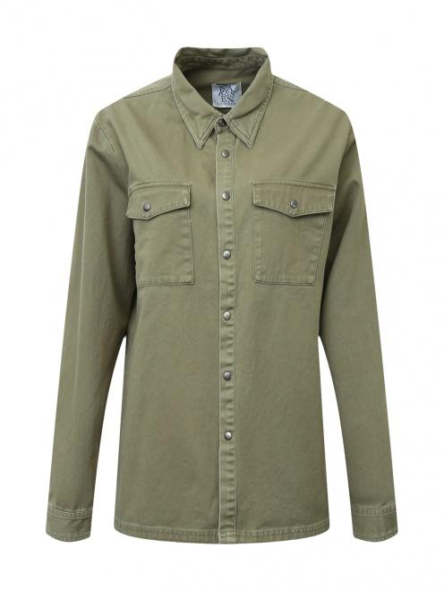 Рубашка из хлопка с принтом на спине - Общий вид