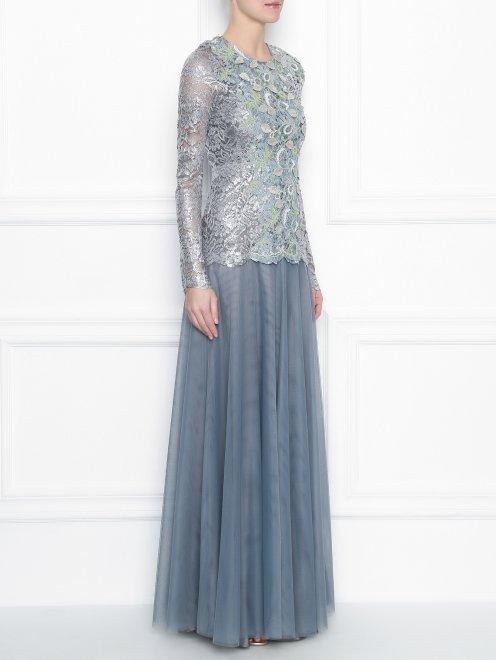Платье-макси из кружева с декоративной аппликацией - МодельВерхНиз
