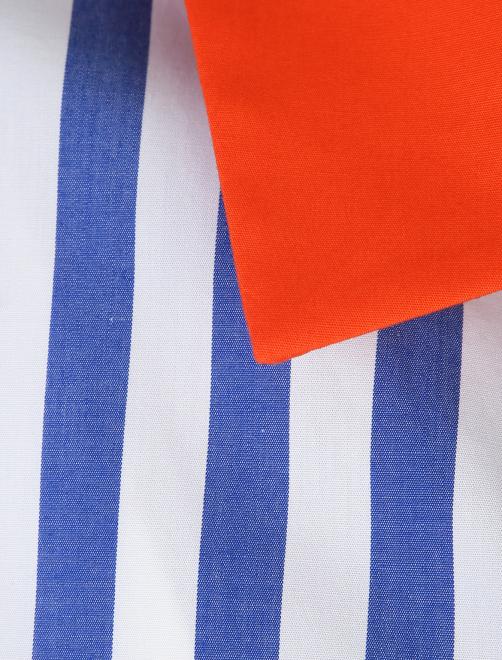 Блуза из хлопка в полоску с контрастным воротником - Деталь