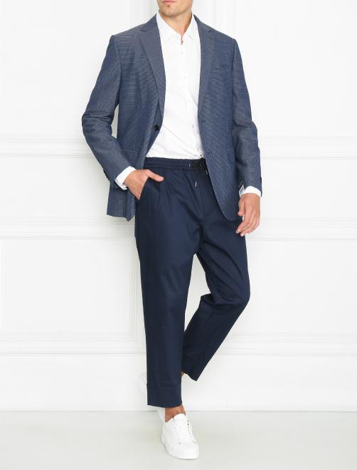 Пиджак однобортный из шерсти и шелка - Общий вид