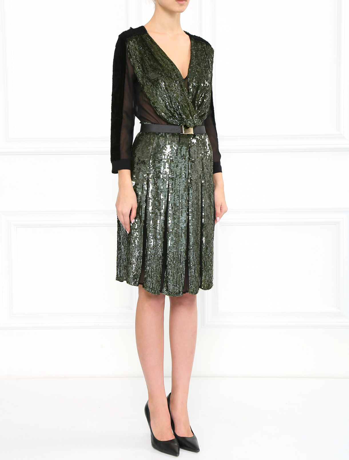 Шелковое платье декорированное пайетками Sportmax  –  Модель Общий вид