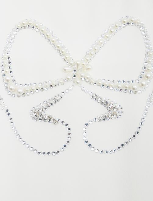 Платье-трапеция с жемчугом и кристаллами - Деталь
