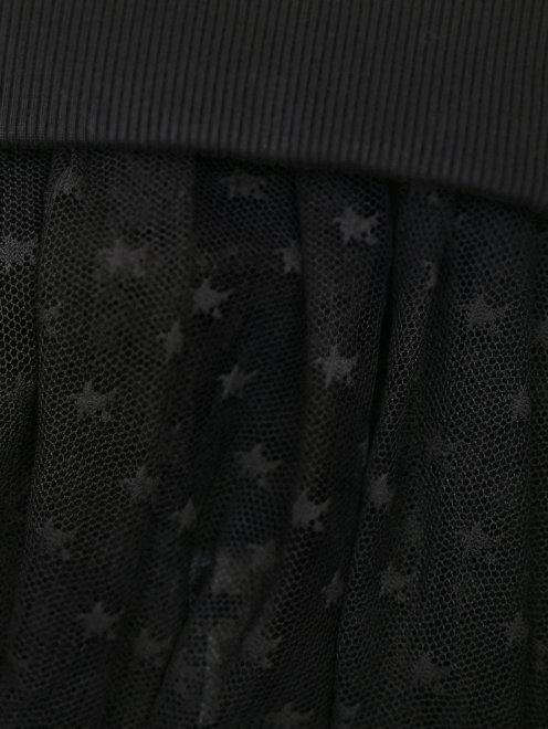Свитшот хлопковый со вставкой из сетки - Деталь