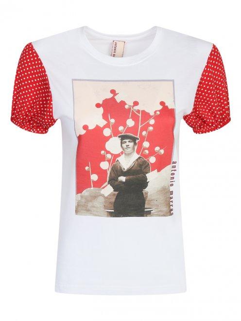 Блуза из хлопка с принтом - Общий вид