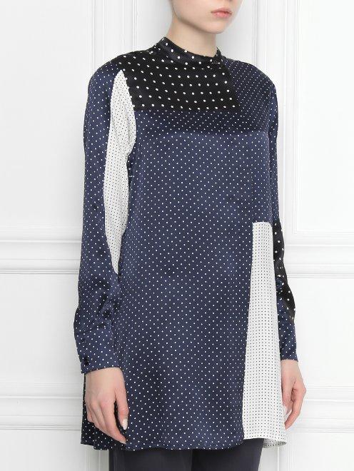 Блуза ассиметричного кроя из шелка в горох - МодельВерхНиз