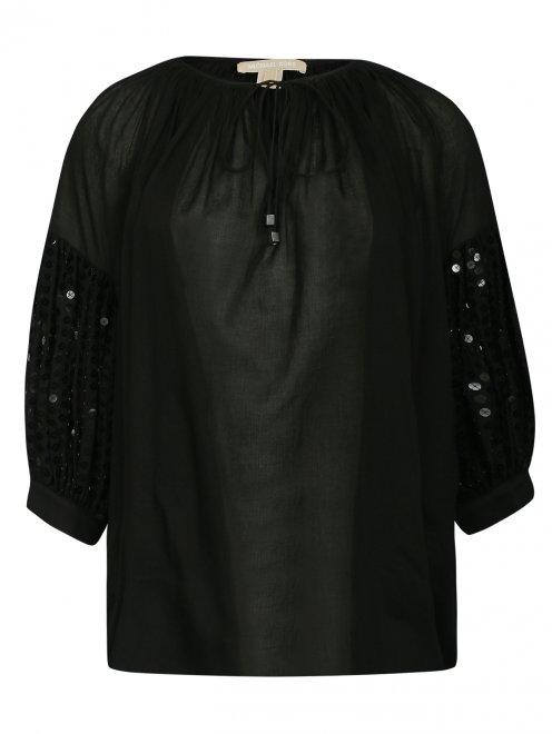 Блуза из хлопка свободного кроя декорированная пайетками - Общий вид