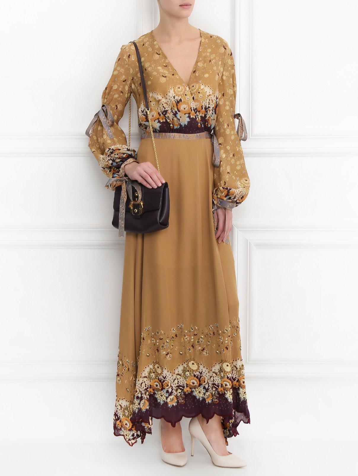 Платье из шелка с запахом и вышивкой бисером Etro  –  Модель Общий вид