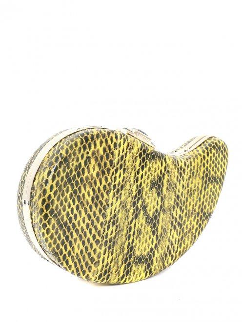 Клатч из кожи с тиснением под рептилию - Обтравка1