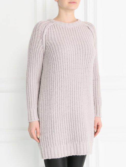 Удлиненный свитер из смесовой шерсти фактурной вязки - Модель Верх-Низ