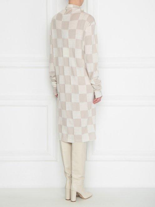 Платье из шерсти в клетку - МодельВерхНиз1