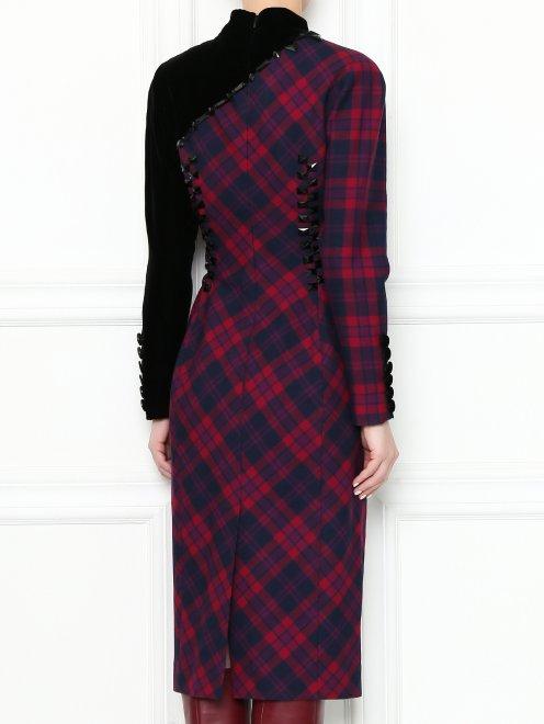 Платье-миди из шерсти с узором и декоративной отделкой - МодельВерхНиз1